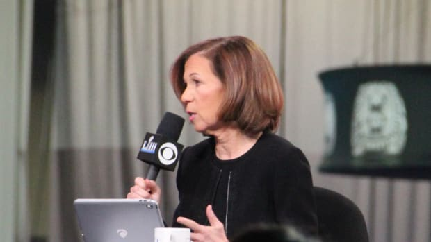 Amy Trask at the Super Bowl Experience at Super Bowl LIII.