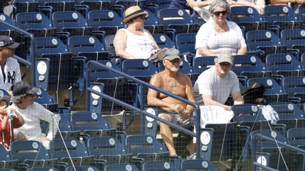 Feb 28, 2021; Tampa, Florida, USA; Maskless fans watch the game between the New York Yankees and Toronto Blue Jays at George M. Steinbrenner Field. Mandatory Credit: Kim Klement-USA TODAY Sports