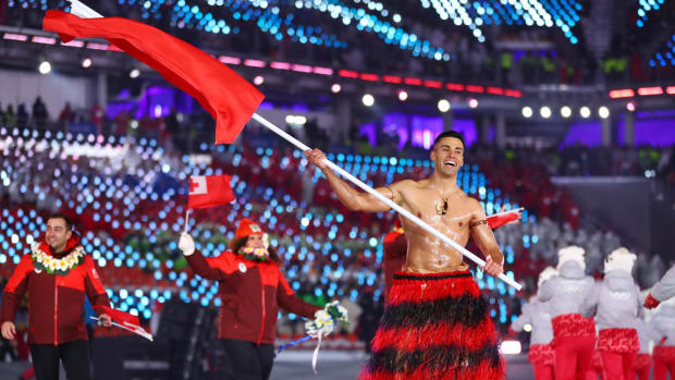 Pita Taufotofua at the 2018 Olympics.
