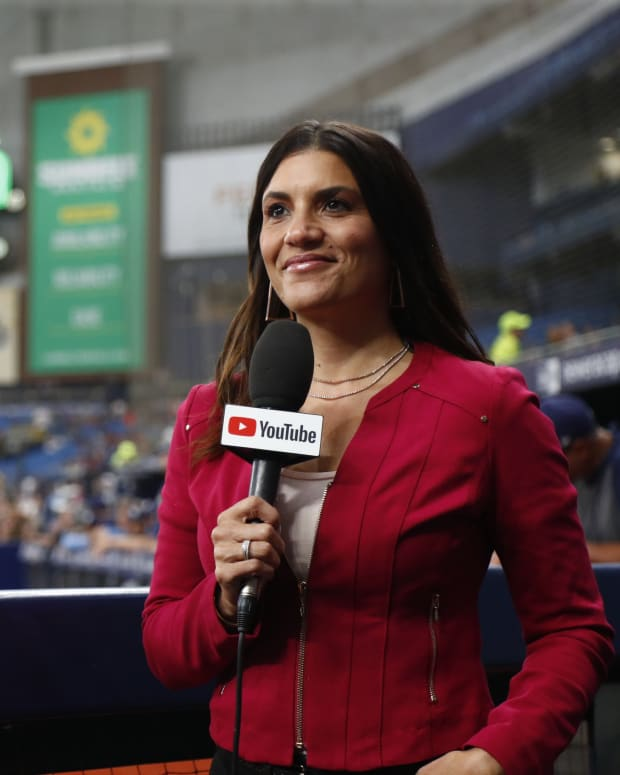 Jul 20, 2021; St. Petersburg, Florida, USA; MLB sports broadcaster Alanna Rizzo announces on YouTube's Tampa Bay Rays vs Baltimore Orioles game of the week as the first all-female broadcast team in Major League Baseball at Tropicana Field. Mandatory Credit: Kim Klement-USA TODAY Sports