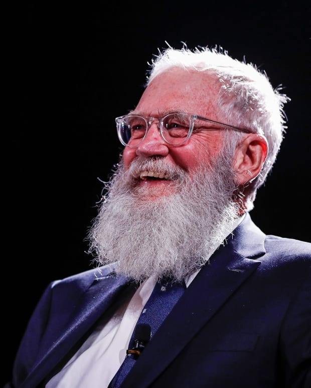 David Letterman took his turn asking questions at Media Day.