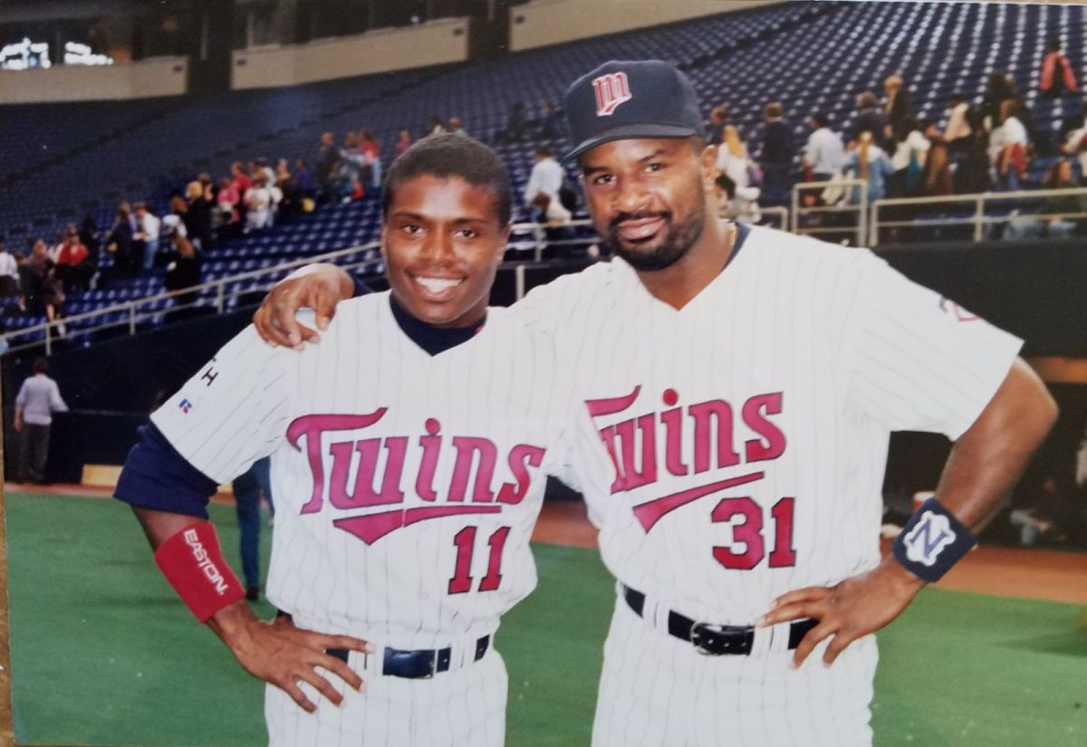 """Todd with Duane Davis on the set of """"Little Big League."""""""