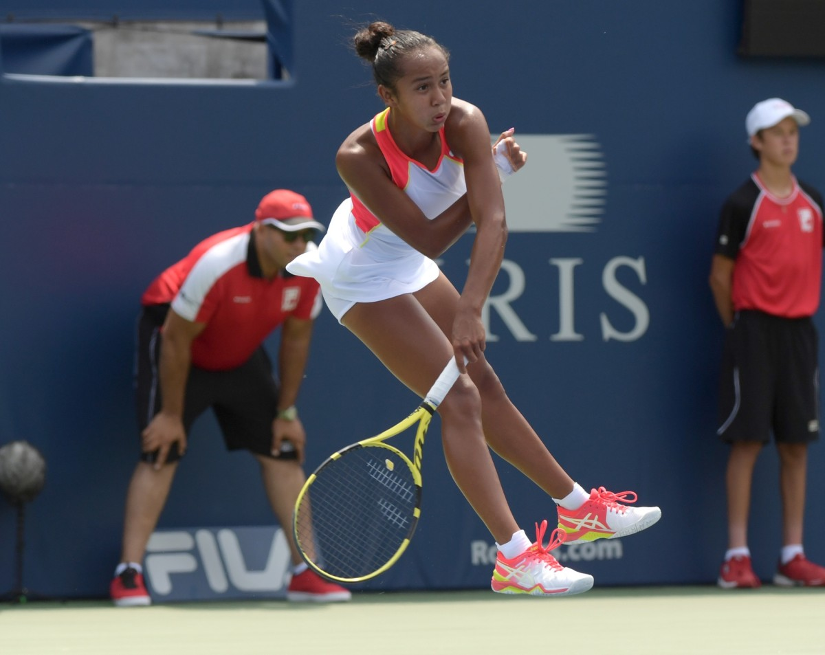 Aug 5, 2019; Toronto, Ontario, Canada; Leylah Fernandez (Canada) hits a serve against Marie Bouzkova (Czech Republic) during the Rogers Cup tennis tournament at Aviva Centre. Mandatory Credit: Dan Hamilton-USA TODAY Sports