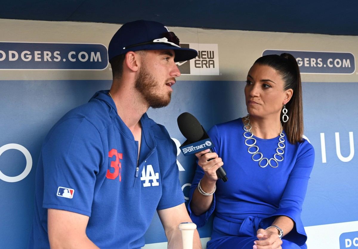 Apr 1, 2019; Los Angeles, CA, USA; Los Angeles Dodgers center fielder Cody Bellinger (35) is interviewed by Spectrum SportsNet LA. reporter Alanna Rizzo before the game against the San Francisco Giants at Dodger Stadium. Mandatory Credit: Kirby Lee-USA TODAY Sports