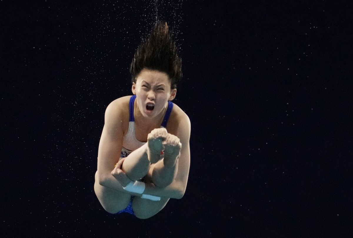 Aug 4, 2021; Tokyo, Japan; Chen Yuxi (CHN) in the women's 10m platform diving preliminary round during the Tokyo 2020 Olympic Summer Games at Tokyo Aquatics Centre. Mandatory Credit: Rob Schumacher-USA TODAY Sports