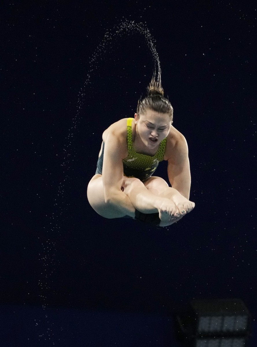 Aug 4, 2021; Tokyo, Japan; Melissa Wu (AUS) in the women's 10m platform diving preliminary round during the Tokyo 2020 Olympic Summer Games at Tokyo Aquatics Centre. Mandatory Credit: Rob Schumacher-USA TODAY Sports