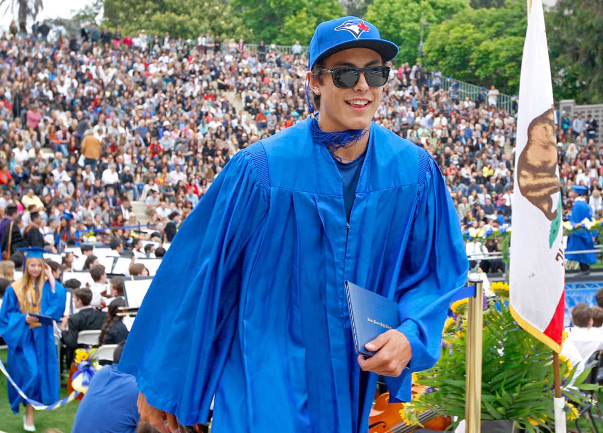 Conner Greene graduating on the same day he was drafted by the Toronto Blue Jays.