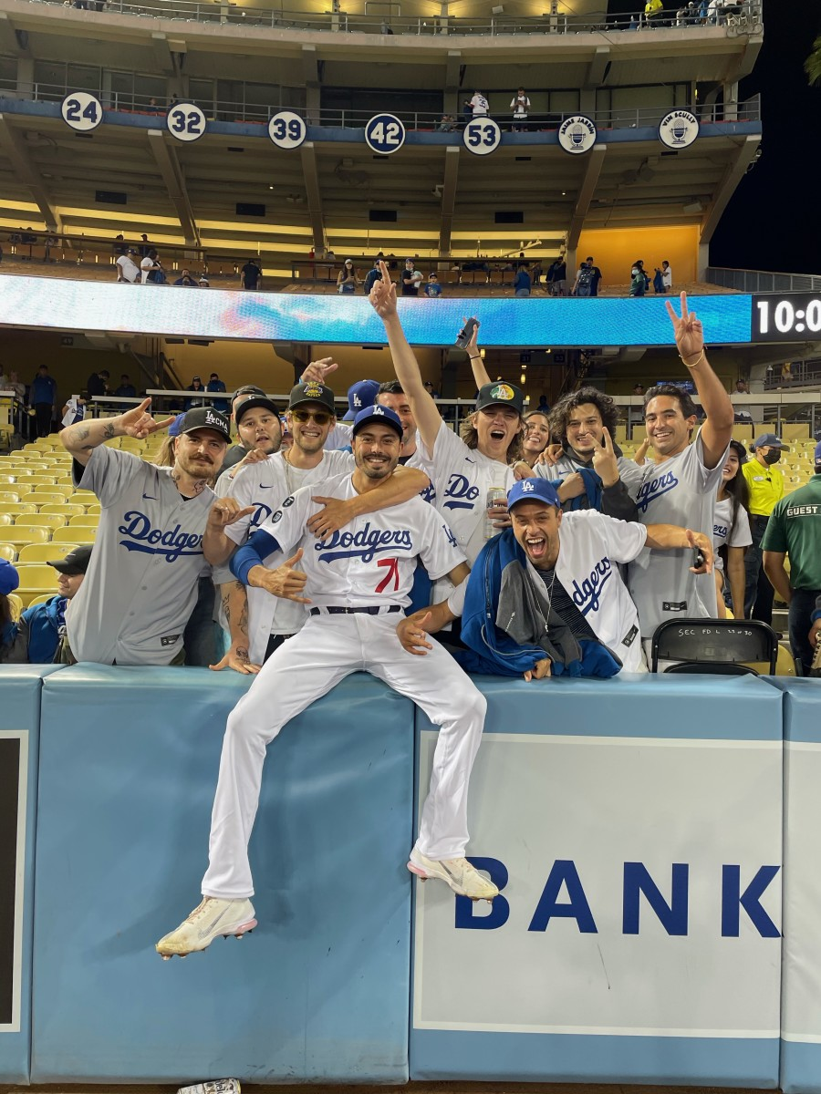 Conner Greene and local friends during the homestand he enjoyed while with the Los Angeles Dodgers.